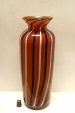 Fine Quality Glass Vase with Black & White Canne Stripes Signed A.Bergstrom '96