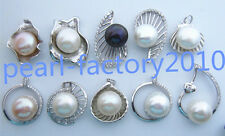 real AAA 13-14mm natural  pearl  south China sea pendant necklace Silver chain