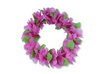 Hawaiian Lei Party Luau Haku Head Band Elastic Royal Hot Pink Flower Plumeria