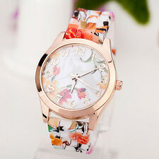 Women Girl Watch Silicone Printed Flower Causal Quartz WristWatches OR