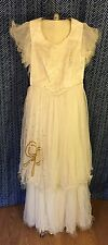 Vintage 1950s White Party Dress With Gold Sequin Bow Detail (Young Lady's Gown)