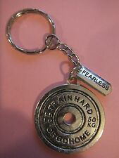 Tibetan Silver 'TRAIN HARD OR GO HOME' 'FEARLESS' Keyring Bodybuilding Weights