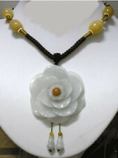 Huge Adjustable Beaded Chain Delicate Carved Jadeite Jade Peony Flower Necklace
