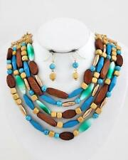 Five Layers Multi Blue And Brown Wood Lucite Bead Gold Tone Necklace Earring