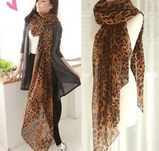 P Women's Fashion Long Style Wrap Lady Shawl Leopard Chiffon Scarf Scarves Stole