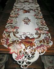"""Autumn Leaves & Berries Embroidered Thanksgiving Fall decor Table Runner 68""""x13"""""""