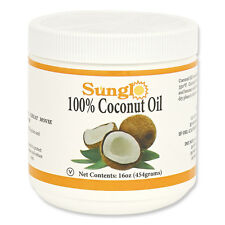 Sunglo 100% Coconut Oil, ( 2 pounds total) Two 16 Ounce Jars#10201
