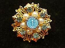 GORGEOUS MIRACULOUS MARY ENAMELED BLUE GUILLOCHE PIN - SO FANCY & SO NICE
