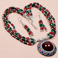 High quality 925  Nepali style Designer Green Onyx,Lapis & Coral Necklace M0522