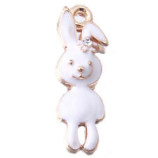 20pc Lots Gold Plated White Enamel Rabbit Charms Jewelry Pendants Fit Necklace J