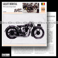 #054.18 GILLET HERSTAL 500 Course & Supersport 1929 Fiche Moto Motorcycle Card