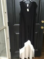 New $119 Chico's Knit Kit Colorblock Black White Maxi Dress Size 3 XL 16/18 NWT
