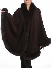 Brown Cashmere Cape Wrap Shawl with Fox Fur Trim New