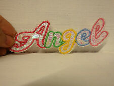3 ANGEL applique sew on iron on motif letter patch embroidered glittery uk