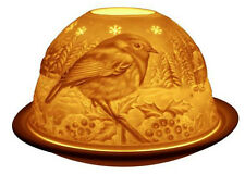 Light-Glow Robin Bird Xmas Christmas Tealight Candle Holder Tea Light Dome Boxed