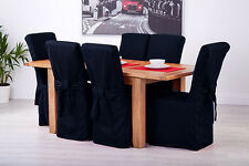 Set of 6 Mid Blue Fabric Dining Chair Covers for Scroll Top High Back Leather