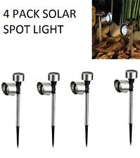 NEW 4 PACK SOLAR GARDEN SPOT LIGHT PATHWAY DRIVEWAY PATIO LIGHTING OUTDOOR LED