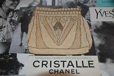 VINTAGE 1920'S BEADED PURSE CLUTCH IVORY PEARL BAG EVENING XMAS PARTY COCKTAIL