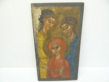 Vintage Religious Three Women Icon Angel Art Artwork Painting Painted Board