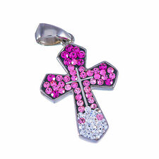 Pendant of sterling silver 925 christian multi color swarovski cross from Israel