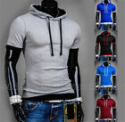 Men's Slim Fit Tees T-Shirts Casual Hooded Short Sleeve Tops Size M-2XL