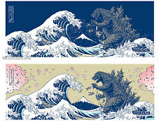 Cotton Towel Godzilla Ukiyoe Japanese Traditional Tenugui Handkerchief 2set F/S