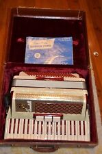 Vintage Scandalli Piano Accordion 427/260 Made Italy 120 Bass W/ Case Red/Pearl