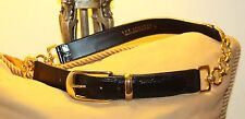 SHINY BLACK CROC EMBOSSED BLACK LEATHER &  GOLD CHAINED BELT