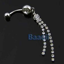 316L Surgical Steel Crystal Long Tassel Dangle Navel Belly Ring Bar 70mm Cute TW