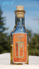 Antique DELAVAL OIL bottle w/ORIG LABEL for CREAM SEPARATOR tiny TRIANGLE shaped
