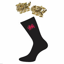 Gold Plated Welsh Dragon Cufflinks & Red Welsh Dragon Socks Gift Set