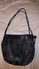 BOTTEGA VENETA Black Intrecciato Shoulderbag Purse Woven Leather Vintage