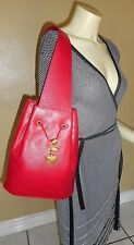 Vicenza INC Red Leather Sling Bucket Style Handbag