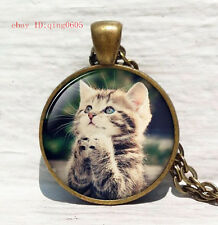 Vintage cat Cabochon Tibetan Bronze Glass Chain Pendant Necklace#T32