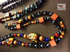 """Vintage Long Art Glass Beaded Square Wood Bead Necklace 28"""" Beautiful"""