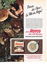 PUBLICITE ADVERTISING  1957   ROYCO  potage  creme de champignon
