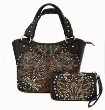 Montana West Ladies Western Ridem Cowgirl Tote Purse Wallet Set Floral Coffee