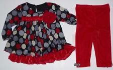 Girls BONNIE JEAN BABY Holiday Party Outfit Size 6 Mo Red Dots pants top XMas