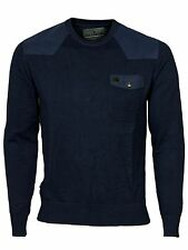 MENS NEW VOI KNITWEAR CREW NECK JUMPER IN GREY & BLACK IRIS COLOURS ALL SIZES