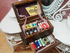 Miniature Wooden Sewing Knitting Box Coil Tailor Tool 1:12 Vintage Dollhouse