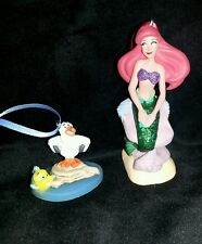 Disney Princess Ariel Christmas Ornament PVC Little Mermaid Scuttle and Flounder