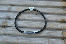 Braided Leather Bracelet with 925 Silver Pandora Charm - Anniversary Heart