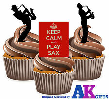 Keep Calm Silhouette Saxophone Player Mix 12 Edible Stand Up Cup Cake Toppers