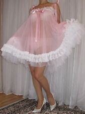VTG Lingerie Double layer Nylon Slip FULL Sweep Negligee Babydoll Nightgown L-4X