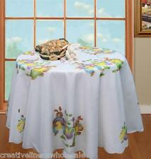 """Easter Bunny White 68"""" ROUND Spring Fabric Tablecloth Creative Linens #3284"""
