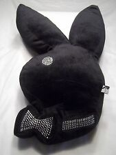 Playboy Bunny Shaped Bed Pillow Plush Black w/ Silver Rhinestone  Bling