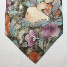 NEW Christian Dior Silk Neck Tie Olive Green with Pear and Cherry Tree 1537