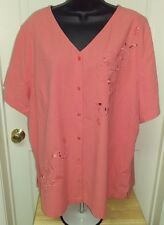 Essentials by Maggie NWT Woman's Plus Coral Floral Button Down Shirt Sz 22/24W