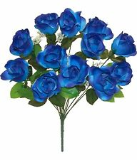 12 ROYAL BLUE Soft Touch Open LongStem Roses Silk Wedding Flowers Bouquets Decor