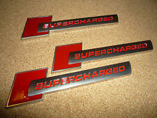 3 X AUDI SUPERCHARGED RED & SILVER BADGE S1 S3 S4 S5 RS3 RS4 RS5 RS TT S-LINE